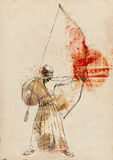 Kyudo. Modern Japanese martial art. A hand drawn full sized illustration of an old Samurai shooting an arrow from a bow (the Archer). Illistration on old Royalty Free Stock Photography