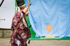 Kyudo strzała w locie Fotografia Royalty Free