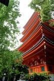 Tocho-ji Temple. Kyushu, Japan - May 1, 2018 : The red 5 story pagoda in the Tocho-ji temple located in Fukuoka, Japan Royalty Free Stock Photography