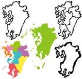 Kyushu map. Stock Photography