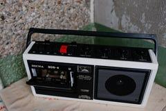 Kyznetsovsk, Ukraine - 9 juillet 2016 : Enregistreur à cassettes de l'URSS de vintage Photo libre de droits