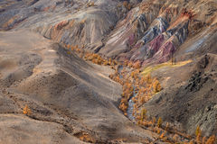 Kyzyl-Chin Valley,Altai Mountains,Russia.Colored Rocks Kyzyl-Chin Other Name Is Mars.Picturesque Martian Landscape From Multi-Co. Lored Clays.Deposit Of Colorful Royalty Free Stock Photo
