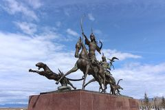 """The sculptural ensemble `Tsar hunt` by the famous Buryat sculptor Dashi Namdakov located in the """"Heart of Asia"""", Kyzyl. Kyzyl, Tuva, Russia - April 20 royalty free stock photography"""