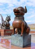 Bronze sculpture Dog symbol of the Chinese zodiac stock images