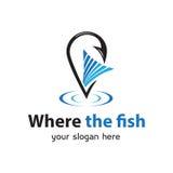 Là où le logo de poissons Photo libre de droits