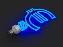 Lámpara ahorro de energía en la dimensión de una variable del euro Imagen de archivo