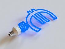 Lámpara ahorro de energía en la dimensión de una variable del euro Imágenes de archivo libres de regalías