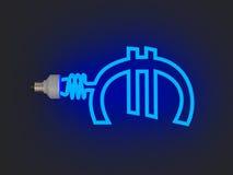 Lámpara ahorro de energía en la dimensión de una variable del euro Foto de archivo
