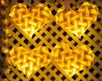 Lámpara amarilla del corazón Imágenes de archivo libres de regalías