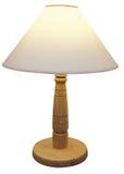 Lámpara basada de madera con la cortina Fotos de archivo