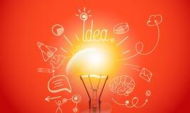 Lámpara brillante con los iconos del garabato de los medios ilustración del vector