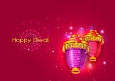 Lámpara colgante adornada para la celebración feliz del día de fiesta del festival de Diwali del fondo del saludo de la India ilustración del vector