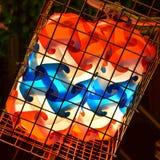 Lámpara colorida en la cesta, vista delantera Imagenes de archivo