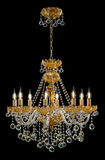 Lámpara contemporánea del oro aislada en fondo negro Crystal Chandelier foto de archivo libre de regalías