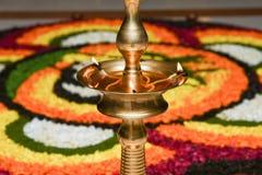 Lámpara de aceite para el festival Kerala la India de Onam Fotografía de archivo