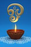 Lámpara de aceite tradicional india con símbolo de OM del Tamil Fotos de archivo