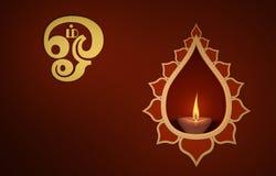 Lámpara de aceite tradicional india decorativa con símbolo de OM Imagen de archivo