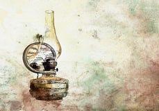 Lámpara de aceite vieja del vintage de la acuarela Foto de archivo