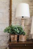 Lámpara de cabecera y planta verde en dormitorio Imagenes de archivo