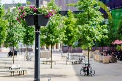 Lámpara de calle adornada con las flores frescas Fotografía de archivo libre de regalías
