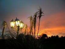 Lámpara de calle antigua en la puesta del sol Imagenes de archivo