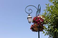 Lámpara de calle con las macetas Fotografía de archivo