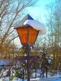 Lámpara de calle con nieve Fotos de archivo libres de regalías