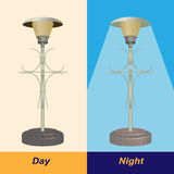 Lámpara de calle día y noche Fotografía de archivo