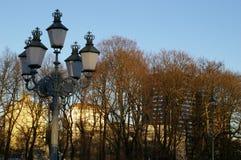 Lámpara de calle de la ciudad en parque Imágenes de archivo libres de regalías