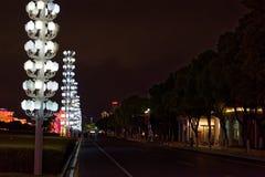 Lámpara de calle de la posts-ciudad de la lámpara de la orquídea Foto de archivo libre de regalías