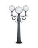Lámpara de calle redonda en un fondo blanco representación 3d Fotografía de archivo libre de regalías