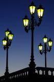 Lámpara de calle tres y barandilla Foto de archivo
