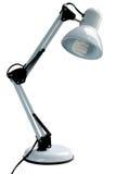 Lámpara de escritorio blanca con el bulbo ahorro de energía Imagen de archivo