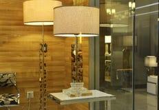 Lámpara de escritorio cristalina en la ventana de la tienda de la iluminación, iluminación del arte moderno, luz de la tabla, lám Foto de archivo libre de regalías