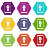 Lámpara de la idea en hexahedron determinado del color del icono de la pantalla del artilugio Fotos de archivo