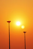Lámpara de la luz del sol y de calle Imagen de archivo libre de regalías