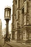 Lámpara de la sepia y edificio gótico Imagen de archivo libre de regalías