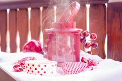 Lámpara de la vela del vintage con el corazón, taza caliente de té en la nieve Imágenes de archivo libres de regalías