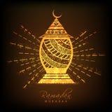 Lámpara de oro para Ramadan Mubarak Foto de archivo