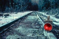 Lámpara de señal roja del tren Fotos de archivo libres de regalías