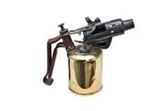 Lámpara de soldar latón-plateada antigüedad del keroseno Fotos de archivo libres de regalías