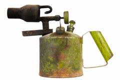 Lámpara de soldar vieja del keroseno aislada en el fondo blanco Foto de archivo libre de regalías