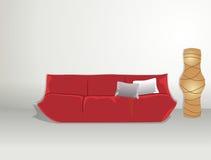 Lámpara del papel del sofá y de arroz Imágenes de archivo libres de regalías
