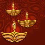 Lámpara encendida creativa para la celebración feliz de Diwali Imagenes de archivo