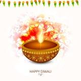 Lámpara encendida tradicional para la celebración feliz de Diwali libre illustration