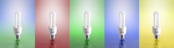 Lámpara fluorescente compacta (5 diversas versiones) Foto de archivo libre de regalías