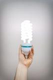 Lámpara fluorescente espiral-formada económica de energía Fotografía de archivo