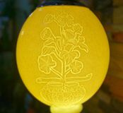 Lámpara hecha del huevo de la avestruz Fotos de archivo