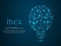 Lámpara incandescente Ejemplo polivinílico, poligonal bajo del vector del wireframe Idea con el triángulo de la geometría Icono d libre illustration
