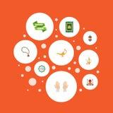 Lámpara islámica de los iconos planos, alfombra del rezo, jarra y otros elementos del vector Sistema de Ramadan Flat Icons Symbol Imagen de archivo libre de regalías